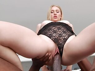 Black lecher fucks blonde's wet pussy and focuses insusceptible to butthole